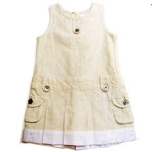 Jacadi Paris Girls Sleeveless Linen Dress Tan 12